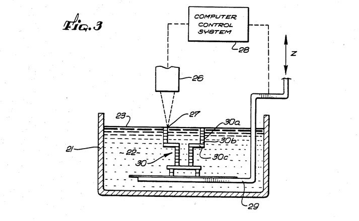 history of 3d printing sla stereolithography patent