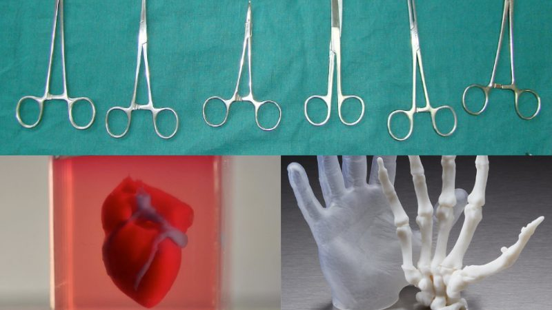 Top: surgical instruments on a green surgical background. Bottom left: CAD rendering of a human heart. Bottom right, hands in surgical gloves