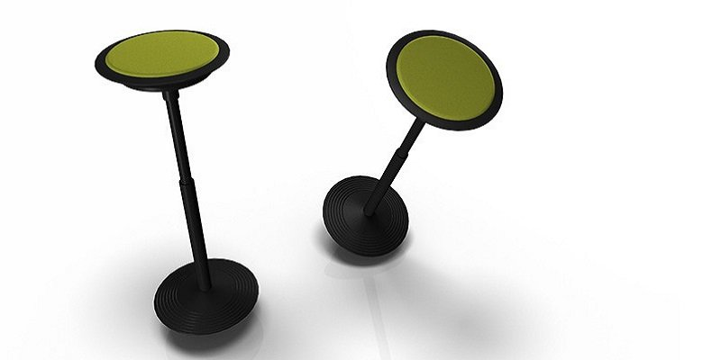 """The """"Sitz 2-201,"""" a height-adjustable stool with a circular base."""