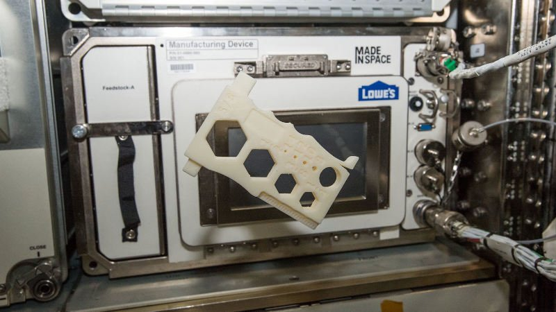 Made in Space AMF space 3D printer with a floating part it printed