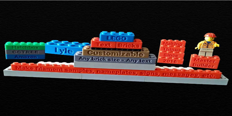 3D Printed Lego Bricks With Text