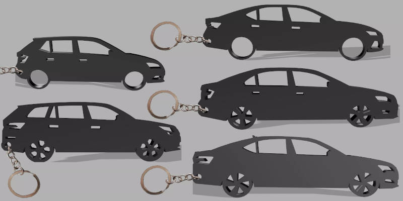 3D Printed Keychains Cars