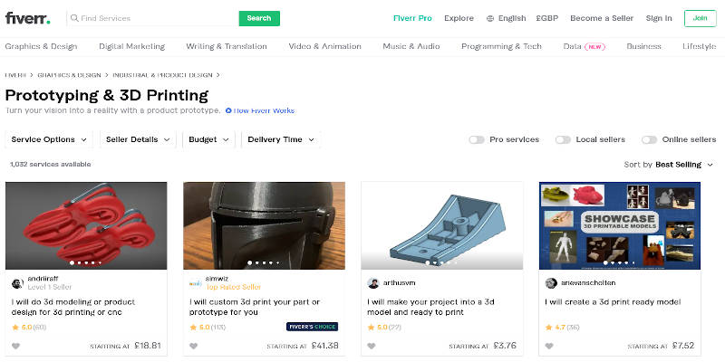 Selling 3D Printed Items on Fiverr