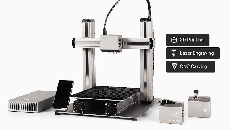 snapmaker 2.0 3 in 1 fdm 3d printer that can also cnc carve and laser engrave