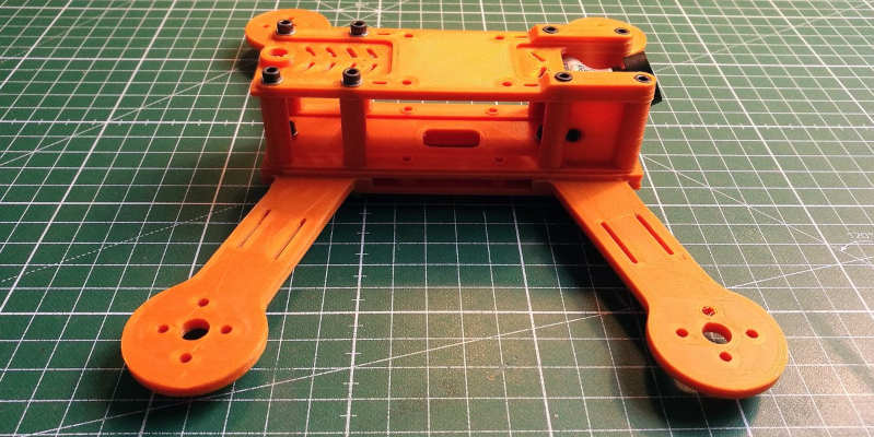 A 3D printed drone frame, without any electronics.