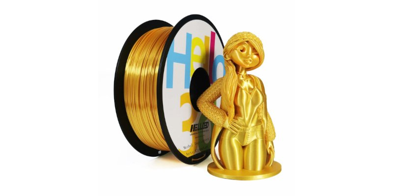 Gold colored 3D printing filament, and a gold colored 3D print