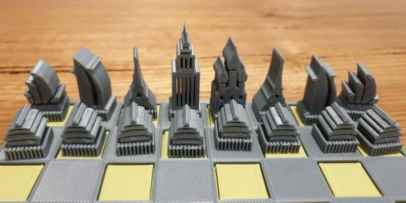 3D Printed Architecture Chess Pieces